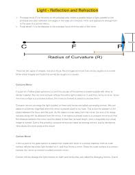 Principal Of Light Light Reflection Physics Chapter Notes
