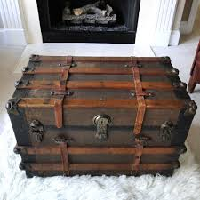 Black Steamer Trunk Coffee Table Reserved For Eric Large Antique Steamer Trunk Coffee Table Flat