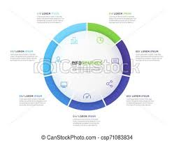 Pie Chart Infographic Template Divided By Seven Parts Vector Illustration