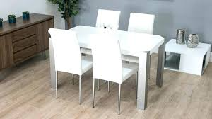 Modern White Dining Table Chairs Gloss With Real Leather