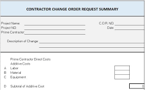Construction Change Order Form Template Excel Guatemalago