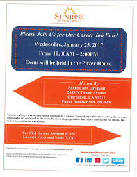 sunrise senior living will be hosting a career job fair on sunrise senior living will be hosting a career job fair on wednesday