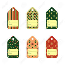 Set Of Bright Christmas Gift Tags In Traditional Colors Holiday