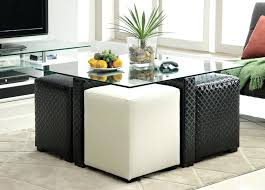 coffee table with two ottomans underneath regard to seating designs 3