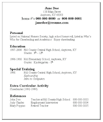 Sample High School Resume For College Application Student Resume For