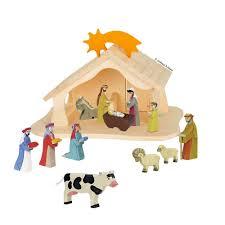 Krippenfiguren Aus Holz Mit Weihnachtskrippe Und Puppenhaus