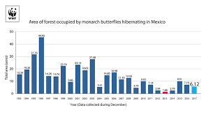 Wildlife Movement Chart Total Area Occupied By Monarch Colonies At Overwintering
