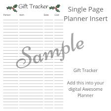 Gift Tracker Planner Insert Gift Tracker The Awesome Planner