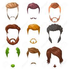 ひげ髭と髪型のセット異なる男性スタイルや髪型の種類ベクトル図は白で隔離
