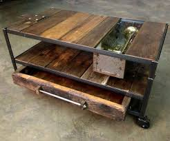 Superior Custom Made Industrial Coffee Table With Rustic Wood And Metal Idea