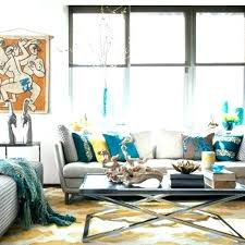 teal living room decor ideas example of a trendy design in new with white walls accent