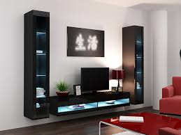 wall unit furniture living room. High Gloss Living Room Set With LED Lights | TV Stand Wall Mounted Cabinet - Modern Display Units Floating Design (Black, 2 \u0026 1 Unit): Unit Furniture S