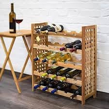 Relaxdays Walnut <b>Wine Rack For 25</b> Wine B- Buy Online in Gibraltar ...
