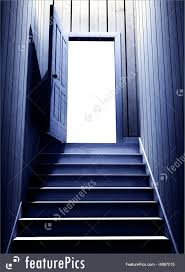 Steps Leading From A Dark Basement To Open The Door Stock Image