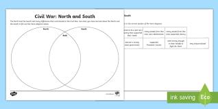 Venn Diagram Civil War New Civil War North And South Venn Diagram Activity Sheet United