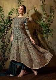 Designer Wear Anarkali Suits Indian Buy Online Green Heavy Anarkali