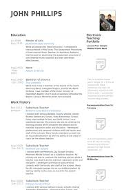 Substitute Teacher Resume Awesome Substitute Teacher Resume Samples VisualCV Resume Samples Database