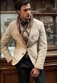 Men's Tan Quilted Blazer, Grey Crew-neck Sweater, Light Blue Long ... & Men's Tan Quilted Blazer, Grey Crew-neck Sweater, Light Blue Long Sleeve  Shirt, Dark Brown Chinos Adamdwight.com