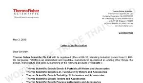 Letters Of Authorization Inspiration Letter Of Authorization Thermo Fisher Scientific Pte Ltd 48
