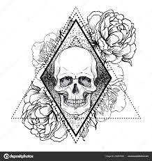 Lidská Lebka Pivoňka Růže Mák Květiny Nad Pozadím Posvátné Geometrie