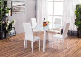 white glass furniture. Roma White Rectangle Glass Dining Table And 4 Montero Chairs Set Furniture