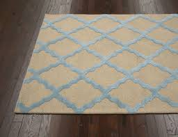 Meknes Trellis 100percent Wool Hand Hooked Area Rug in Beige Blue design by  NuLoom square light