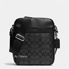 Coach Men s Flight Crossbody Bag in Signature Charcoal black F54788
