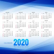 Professional Calendar Template Professional New Year 2020 Calendar Template With Blue Wave