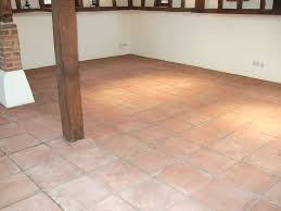 fired earth terracotta floor with linseed oil