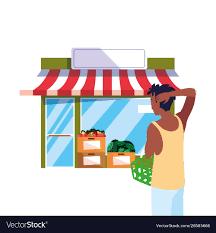 Man Basket Design Pdf Customer Man With Basket Front Grocery Shop