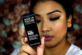 review first impression demo makeup forever ultra hd foundation cover stick y405