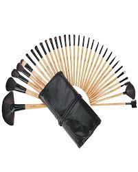 pack of 32 makeup brushes bag black