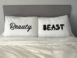 Quirky Funny Beauty and Beast Pillowcase Set Pillow Case Pillowcases Custom  Fun Wedding Valentine Gift White Cyan Pink Orange-in Pillow Case from Home  ...