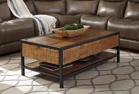 distressed natural wood lift top coffee table caravana furniture bobs ca817