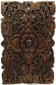 wooden wall art panels wood wall decor lotus flower oriental teak wood wall hanging hand carved