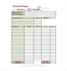 sample household budget 10 household budget templates free sample example format