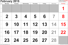 february 2015. Fine February Calendar February 2015 Landscape Orientation Large Numerals 1 Page With  UK Bank On 2015
