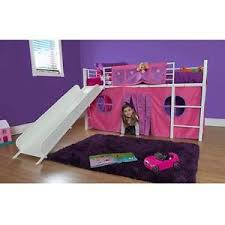 bunk bed with slide and tent. Loft Bed For Kids With Slide Princess Girl Curtain Canopy Tent Metal Twin Frame Bunk And