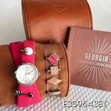 es3964 fossil woman s fushia leather double wrap 6 charm watch set women s fashion watches on carou