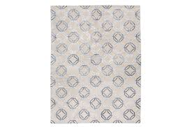 modern silk and wool rug with geometric design over gray colors photo 1