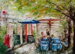 oil painting painting italian street cafe by milena hristova