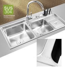 910 430 210mm 304 stainless steel kitchen sink brushed vessel set with faucet double sinks undermount kitchen washing vanity