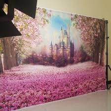 Cherry Blossom Backdrop Us 9 6 36 Off Cherry Blossoms Castle Birthday Photography Backdrops Photo Background Party Wall Decoration Backdrop W 314 In Background From