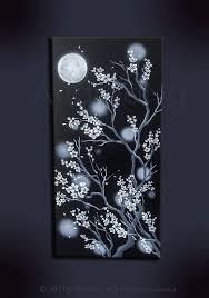 black and white cherry blossom moon painting original art dark painting gothic painting anese art black white art anese style