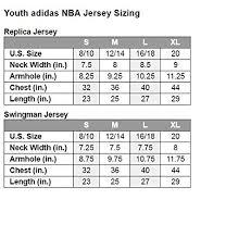 Youth Basketball Jersey Size Chart