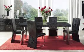 modern formal dining room furniture. Awesome Dining Room Elegant Black Chairs Table Red Carpet Beautiful Flower Vase White Modern Formal Furniture W