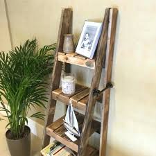 rustic wooden ladder shelf slim inside shelves decorating wood antique display regarding lad