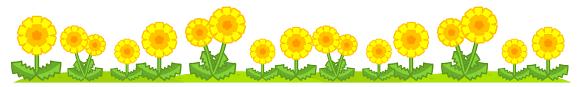 野に咲くたんぽぽライン・罫線イラスト|たんぽぽ|ライン・罫線|素材のプチッチ