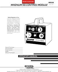 Lincoln Electric Magnum Sg Control Module Im398 Users Manual