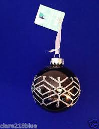Details Zu Black Glass Christmas Tree Bauble Silver Glitter Diamond Pattern Green Gem 8cm